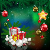 Celebration greeting with Christmas tree and snowflakes Royalty Free Stock Photo