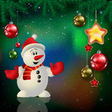 Celebration greeting with Christmas tree and snowflakes Stock Image