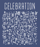 Celebration, happy birthday doodles elements. Celebration, background. Celebration seamless. Celebration Vector sketchy illustration Stock Illustration
