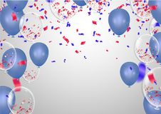 Celebration happy birthday party banner with balloons and serpen. Tine background with confetti party banner Royalty Free Stock Image