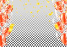 Celebration happy birthday party banner with balloons and serpen. Tine background with confetti party banner Royalty Free Stock Images