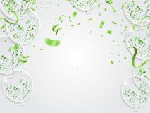 Celebration happy birthday party banner with balloons and serpen. Tine background with confetti party banner Stock Photo