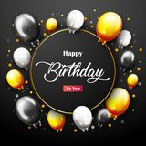 Celebration Happy Birthday Party Banner With Golden Balloons. Illustration of Celebration Happy Birthday Party Banner With Golden Balloons Stock Photography