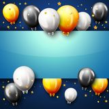 Celebration Happy Birthday Party Banner With Golden Balloons. Illustration of Celebration Happy Birthday Party Banner With Golden Balloons Royalty Free Stock Image