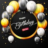 Celebration Happy Birthday Party Banner With Golden Balloons. Illustration of Celebration Happy Birthday Party Banner With Golden Balloons Royalty Free Stock Photo