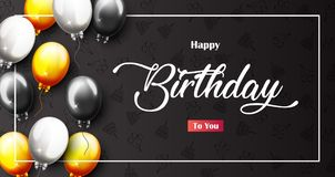 Celebration Happy Birthday Party Banner With Golden Balloons. Illustration of Celebration Happy Birthday Party Banner With Golden And Silver Balloons Royalty Free Stock Photos