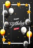 Celebration Happy Birthday Party Banner With Golden Balloons. Illustration of Celebration Happy Birthday Party Banner With Golden And Silver Balloons Royalty Free Stock Images