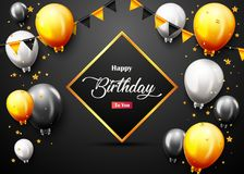 Celebration Happy Birthday Party Banner With Golden Balloons. Illustration of Celebration Happy Birthday Party Banner With Golden Balloons Royalty Free Stock Photography