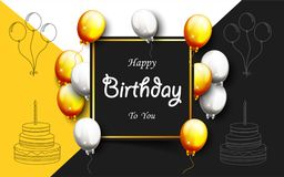 Celebration Happy Birthday Party Banner With Golden Balloons. Illustration of Celebration Happy Birthday Party Banner With Golden And Silver Balloons Stock Photos