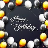 Celebration Happy Birthday Party Banner With Golden Balloons. Illustration of Celebration Happy Birthday Party Banner With Golden And Silver Balloons Stock Image