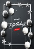 Celebration Happy Birthday Party Banner With Silver And Black Balloons. Illustration of Celebration Happy Birthday Party Banner With Silver And Black Balloons Royalty Free Stock Photos