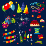 Celebration, happy birthday, party, carnival, festive vector icons set with balloons, cake, gift, fireworks, sparkler. Objects for celebration and party Royalty Free Stock Photos