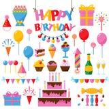 Celebration happy birthday party symbols carnival festive vector set. Colorful happy birthday party symbols hat, gifts, balloon. Happy birthday party symbols Stock Photography