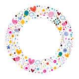 Celebration happy cartoon circle frame Royalty Free Stock Photos
