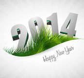 Celebration 2014 happy new year holiday card for g. Rass wave design Royalty Free Stock Image