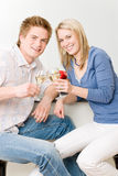 Celebration happy romantic couple enjoy white wine Royalty Free Stock Photo
