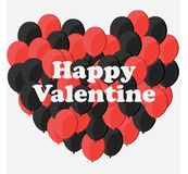 Celebration Happy Valentine Day - 14 february - Love Heart - Ballon Red and Black. High Resolution vector illustration