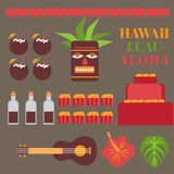 Celebration on hawaii island, Luau party elements.   Exotic vacation, summer weekend, hawaiian flowers, tiki mask, ukulele guitar,. Sweet and coconut drink Stock Photos
