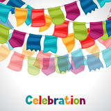 Celebration holiday greeting card with garland of Stock Images