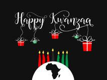 Happy Kwanzaa decorative greeting card. The celebration honors African heritage in African-American culture. Winter holidays. December 26th Stock Images