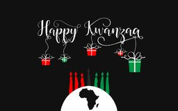 Happy Kwanzaa decorative greeting card. The celebration honors African heritage in African-American culture. Winter holidays. December 26th Stock Photo