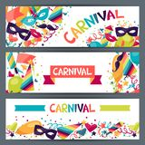 Celebration horizontal banners with carnival icons Stock Image