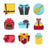Celebration icon set of colorful gift boxes Stock Images
