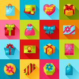 Celebration icon set of colorful gift boxes Royalty Free Stock Photography