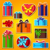 Celebration icon set of gift boxes. stock illustration