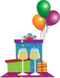Celebration Icon. Vector illustration of gift boxes, balloons and wineglasses. Eps10 stock illustration