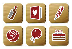 Celebration icons | Cardboard series stock illustration
