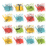 Celebration icons with color spray spots vector. Celebration set icons with cake drinks fireworks giftbox and color spray spots vector Royalty Free Stock Image