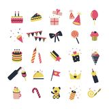 Celebration icons. Illustrated set of 25 color icons for assorted celebrations, isolated on a white background stock illustration