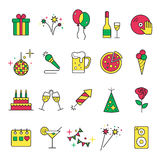 Celebration Icons and Party Icons with White Background. Celebration icons set with cocktai,l confetti, fireworks, cake, balloons isolated. Celebration party Stock Images