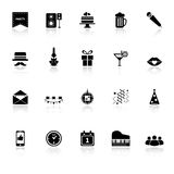 Celebration icons with reflect on white background Stock Photos