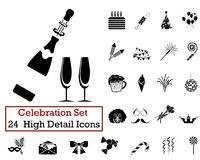 24 Celebration Icons. Set of 24 Celebration Icons in Black Color Stock Image