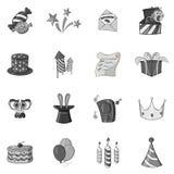 Celebration icons set, black monochrome style. Celebration icons set in black monochrome style. Party, carnival, festive set collection vector illustration Royalty Free Stock Photo