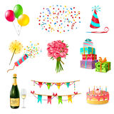 Celebration Icons Set. With cake balloons champagne bouquet confetti and present boxes firecrackers garland whistle party hat  vector illustration Royalty Free Stock Photos