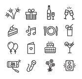 Celebration Icons Set. Can be used to illustrate topics like parties, birthday celebration, family events stock illustration