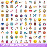 100 celebration icons set, cartoon style. 100 celebration icons set in cartoon style for any design vector illustration Royalty Free Stock Photos