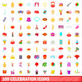 100 celebration icons set, cartoon style. 100 celebration icons set in cartoon style for any design vector illustration Stock Photography