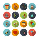 Celebration Icons Set. With cocktail confetti fireworks cake balloons isolated vector illustration Royalty Free Stock Photography