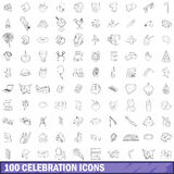 100 celebration icons set, outline style. 100 celebrationl icons set in outline style for any design vector illustration Royalty Free Stock Photography