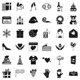 Celebration icons set, simple style. Celebration icons set. Simple style of 36 celebration vector icons for web isolated on white background Royalty Free Stock Image