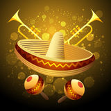 Celebration. Illustration of fiesta celebration with sombrero, maracas and trumpets against festive background vector illustration