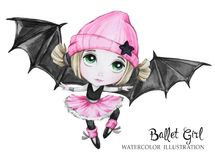 Celebration illustration. Watercolor ballet girl with bat wings. Small witch. Teenager. Halloween horror party. Have fun. Celebration illustration. Watercolor Stock Photography