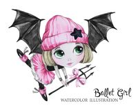 Celebration illustration. Watercolor ballet girl with bat wings. Small witch. Teenager. Halloween horror party. Have fun. Celebration illustration. Watercolor Stock Photo