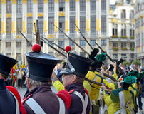 Celebration of Independence of Belgium in 1830 on Grand Place Stock Images