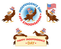Celebration of the Independence Day. Fourth of July. Set of American eagles in the patriotic hats. Cartoon styled vector illustration. Elements is grouped royalty free illustration