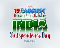 Celebration of Independence day in India. Holiday design, background with handwriting and 3d texts, and spinning wheel on national flag colors for fifteenth of vector illustration